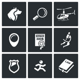 Search, prosecution escaped convict icons set. Vector Illustration. Royalty Free Stock Photos