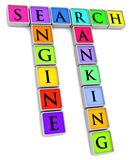 Search Ranking. Illustration of colored tiles with the words Search, Engine and Ranking Royalty Free Stock Photography