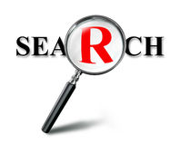 Search red word concept with magnifying glass Stock Photo