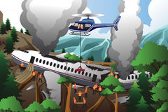 Search and rescue for airplane crash. A vector illustration of rescue teams searching through destroyed airplane vector illustration