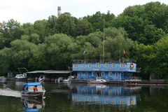 Search and rescue station on the Moscow river. Royalty Free Stock Images
