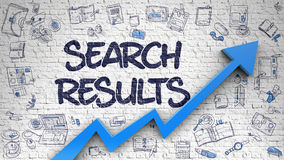 Search Results Drawn on White Wall. Search Results - Success Concept. Inscription on Brick Wall with Doodle Design Icons Around. Search Results - Line Style Stock Photo
