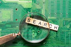 Search results from search engine query, searching the internet. For top results stock image