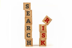 Search Risk word written on cube shape. Search Risk word written on cube shape wooden surface isolated on white background Royalty Free Stock Photography