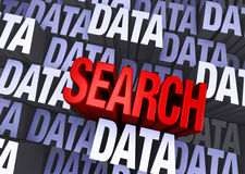 Search A Sea Of Data. A bold, red SEARCH emerges from a multi-level background made up of multiple instances of the word DATA Stock Photos
