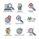 Search and SEO Web Header Hero Image Banner with organic growth, search, and locality ideas icon set. Search & SEO Web Header Hero Image Banner with organic royalty free illustration
