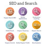 Search and SEO Web Header Hero Image Banner with organic growth, search, and locality ideas icon set. Search & SEO Web Header Hero Image Banner with organic vector illustration