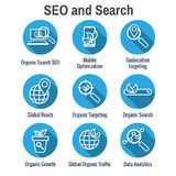 Search and SEO Web Header Hero Image Banner with organic growth, search, and locality ideas icon set. Search & SEO Web Header Hero Image Banner with organic stock illustration