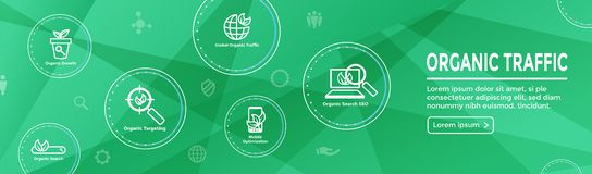 Search and SEO Web Header Hero Image Banner with organic growth, search, & locality ideas icon set. Search & SEO Web Header Hero Image Banner with organic growth vector illustration