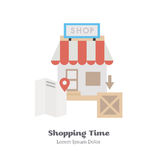 Search the shop on maps. Vector Illustration. Search the shop on maps. Flat Vector Illustration Stock Photo