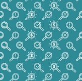 Search Signs Pattern Background on a Blue. Vector Royalty Free Stock Photography