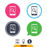 Search in Smartphone sign icon. Find symbol. Royalty Free Stock Photo