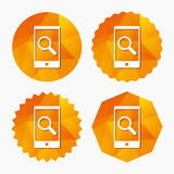 Search in Smartphone sign icon. Find symbol. Search in Smartphone sign icon. Find in phone symbol. Triangular low poly buttons with flat icon. Vector Royalty Free Stock Photos