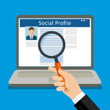 Search Social Profile. Laptop with social network. Flat design, vector illustration Royalty Free Stock Photo