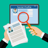Search Social Profile. Tablet with social network. Flat design, vector illustration Stock Photography