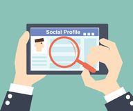Search Social Profile -Tablet with social network Royalty Free Stock Photo