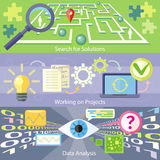 Search for Solution Data Analysis Working Project. Data analysis concept. Scan virus in data. Working on project concept. Business plan concept icons in flat Royalty Free Stock Photo
