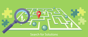 Search for Solution Maze. Search for solution labyrinth, maze, puzzle concept with business people. Concept in flat design style. Can be used for web banners Royalty Free Stock Image