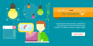 Search for Solutions Banner. Person Working Vector stock illustration