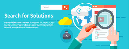 Search for solutions infographics. Hand holding classic styled magnifying glass and analyze website in flat design style Royalty Free Stock Images