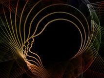 In Search of Soul Geometry. Geometry of Soul series. Backdrop of  profile lines of human head to complement your design on the subject of education, science Royalty Free Stock Images