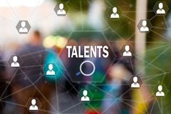 Search Talented employees, Human Resources on the touch screen to the network, on people blur background. Concept of search for talented employees, programmers Royalty Free Stock Photos