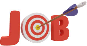 Search target find best business Job. Arrow hits job search help wanted bulls eye to find best career opportunity Royalty Free Stock Images