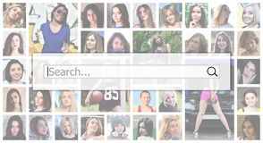 Search. The text is displayed in the search box on the background of a collage of many square female portraits. The concept of se royalty free stock images