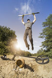 Search for treasure using a metal detector and shovel. Royalty Free Stock Photography