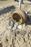 Search for treasure using a metal detector and shovel. Stock Photos