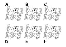Search the twins between six cartoon butterflies. Only two of these six butterflies are completely identical. Can you find the twins? (solution A and E Royalty Free Stock Photography