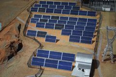 Search and use of alternative energy, power plant from solar panels.  Royalty Free Stock Photo