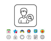 Search User line icon. Male Profile sign. Search User line icon. Profile Avatar with Magnifying glass sign. Male Person silhouette symbol. Calendar, Globe and Royalty Free Stock Photography