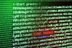 Search for a virus signature in the program code. Russian hacker Stock Image