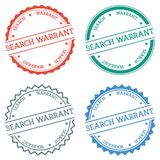 Search warrant badge isolated on white background. Flat style round label with text. Circular emblem vector illustration Royalty Free Stock Image