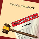 Search Warrant and evidence. A search warrant with a plastic bag for evidence. Vector illustration Royalty Free Stock Image