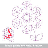 Search the way. Flower kid maze game. stock illustration