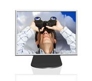 Search the web - business man on tft screen Stock Photo