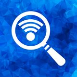 Search wi-fi connection icon, wifi searching pictogram on a blue Royalty Free Stock Photos