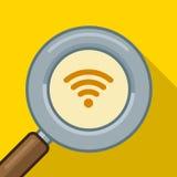 Search wifi symbol,  illustration find wifi. Search wifi symbol. Vector illustration find wifi Royalty Free Stock Image