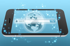Search window on the mobile phone screen. Stock Image
