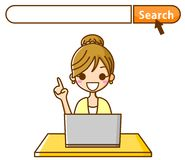 Search for women. This is an illustration of a women looking at computer Stock Photos