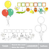 Search the word BALLOON. Rebus kid game. Search the word BALLOON. Find hidden word. Task and answer. Game for children Royalty Free Stock Photos