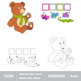 Search the word BEAR. Task and answer. Search the word BEAR. Find hidden word. Task and answer. Game for children. Rebus kid riddle game Stock Photography