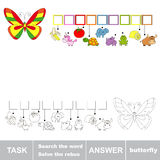 Search the word BUTTERFLY. Find hidden word Stock Photo