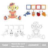 Search the word doll. Find hidden word. Task and answer. Game for children. Rebus kid riddle game Stock Photography
