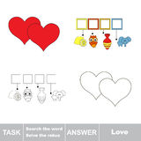 Search the word. Find hidden word Love. Vector rebus game. Task and answer. Solve the rebus and find the word Heart Royalty Free Stock Images
