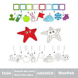 Search the word. Find hidden word Starfish Stock Photography
