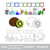 Search the word Kiwifruit. Vector rebus game for children. Easy educational kid game. Simple game level. Find solution and write the hidden word Kiwifruit Royalty Free Stock Photo