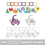 Search the word Scorpion. Royalty Free Stock Photography